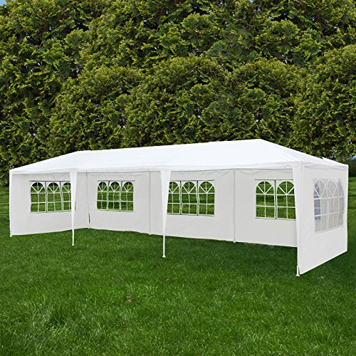 Uenjoy 10'x30' Canopy Party Wedding Tent Event Tent Outdoor Gazebo White 5 Sidewalls (Event Canopy)