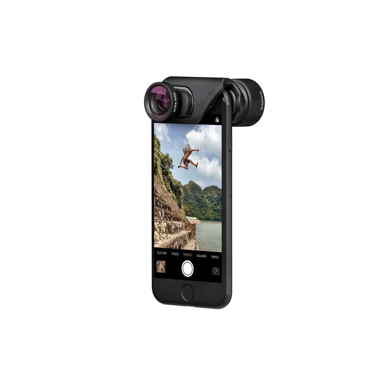 olloclip — ACTIVE LENS SET + OLLO CASE Combo for iPhone 8/8 Plus and iPhone 7/7 Plus — Includes 1 iPhone case for the iPhone 7 & 8 + MACRO Premium Glass Lens — Lens: Black, Case: Clear by olloclip