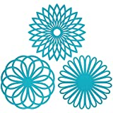 Silicone Multi-Use Flower Trivet Mat(set of 3 Pack) Premium Quality Insulated Flexible Durable Non Slip Hot Pads and Coasters Cup (Blue) by CREATESTAR