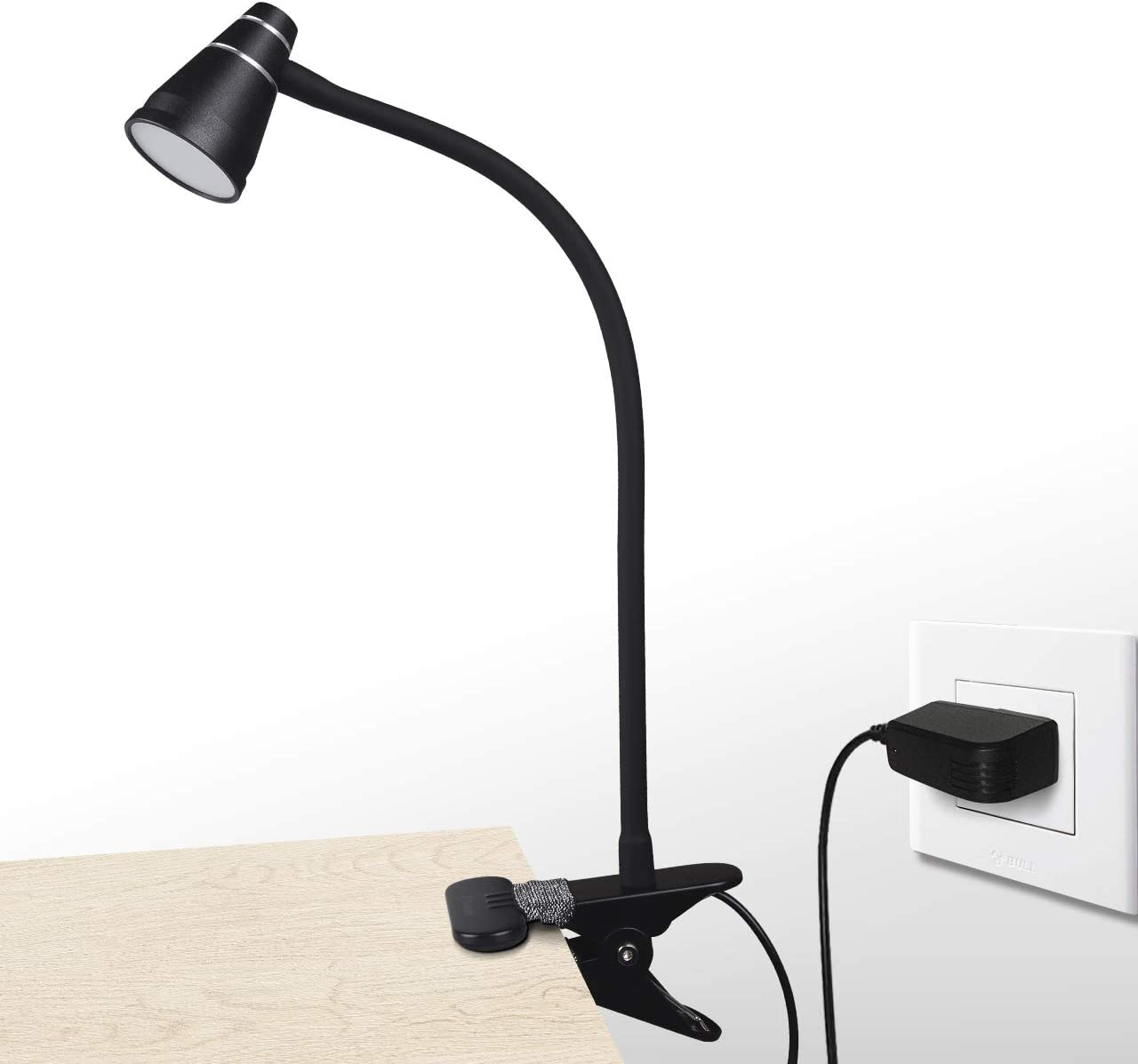 CeSunlight A9 LED Clip Desk Lamp Black , Headboard Light with Strong Clamp, Bed Reading Light with 3000k-6500K Adjustable Color Temperature Options for Brighter Illumination