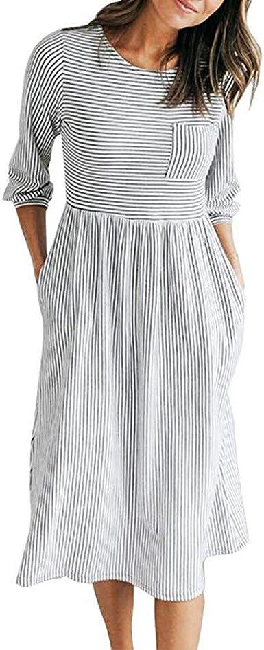 Lubity Robe Col Rond Femme Chic Noir Et Blanc Raye Manches Manches Taille Haute Poche Automne Hiver Simple Robe De Soiree Simple Mini Tous Les Jours Amazon Fr Vetements Et Accessoires