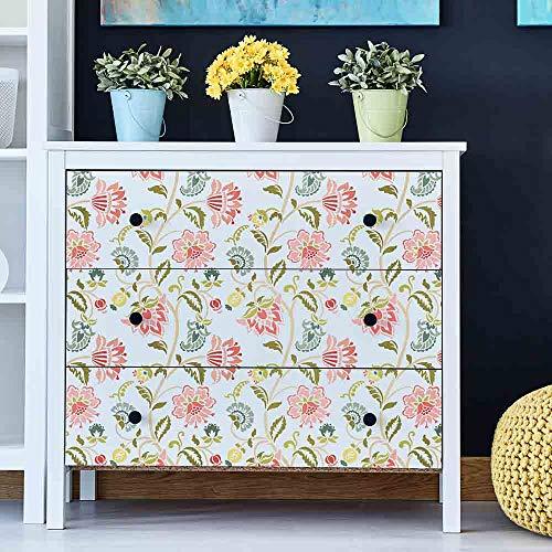 Jacobean Furniture Stencil - DIY Floral Pattern - Reusable Stencil for Furniture Makeovers (Medium)