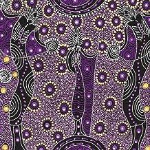 Australian Aboriginal fabric, Dancing Spirit Purple by Colleen Wallace