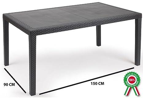 Tavolo tavolino rettangolare prince in resina finto rattan vimini
