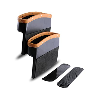 Car Seat Pockets PU Leather Car Console Side Organizer Seat Gap Filler Catch Caddy with Non-Slip Mat 9.2x6.5x2.1 inch Brown Black(2 Pack) Powertiger: Automotive