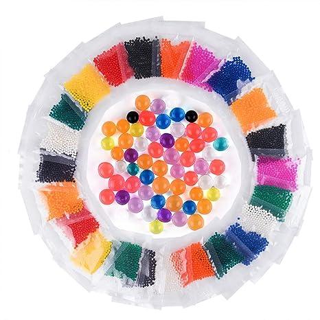 Kuuqa Perlas De Agua Bolas De Agua De Gel 24 Paquetes 12 Colores