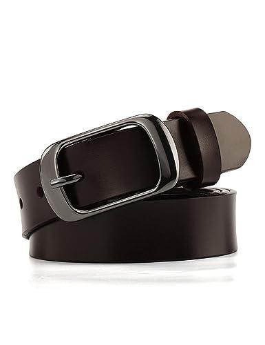 Chicwe Cinturones Tallas Grandes Mujeres Cinturón de Cuero Genuino con Hebilla de Aleación