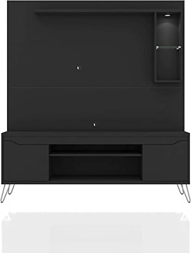 Manhattan Comfort Baxter Modern 7 Shelves Free Standing Entertainment Center with Round LED Light, 62.99 , Black
