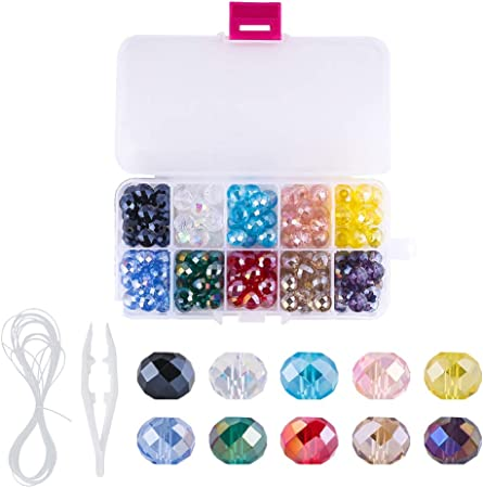Amazon Com Novborcz 10mm Briolette Glass Beads For Jewelry Making 130pcs Ab Color Faceted Rondelle Shape Colored Crystal Spacer Beads Used For Bracelets Necklace Accessories Jewelry Making