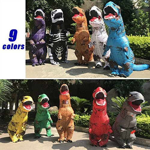 T-Rex Dinosaur Inflatable Costume Halloween Cosplay Blow up Outfit Fancy Dress with 2 Fan Blowers by YOWESHOP (Image #4)
