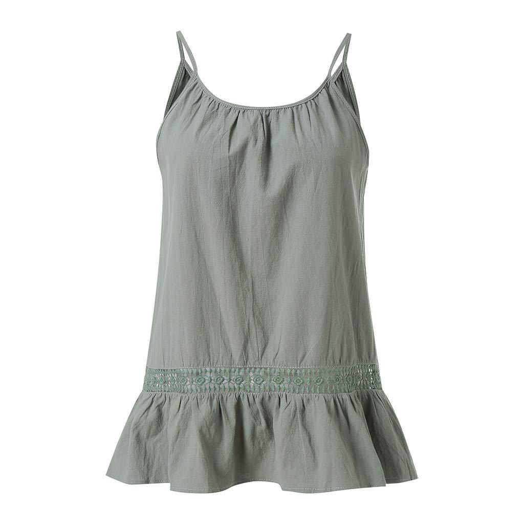 Bellelove Damen Ärmelloses Oberteil kurzen Ärmeln Oben Bluse Shirt Langarm Tunika Tops T-Shirt Spitzennaht Einfarbiges kurzärmliges