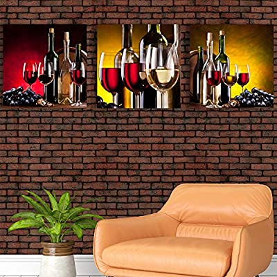 Abstract Vintage Wine Cup Pictures Home Wall for Kitchen Streched and Framed x3 Panels, With Expert Quality, Alluring Craft