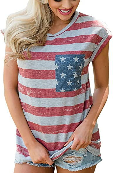 Xavigio Womens Round Neck Cap Sleeve American Flag Print Independence Day Tank Tops Casual Camis Blouse Shirts