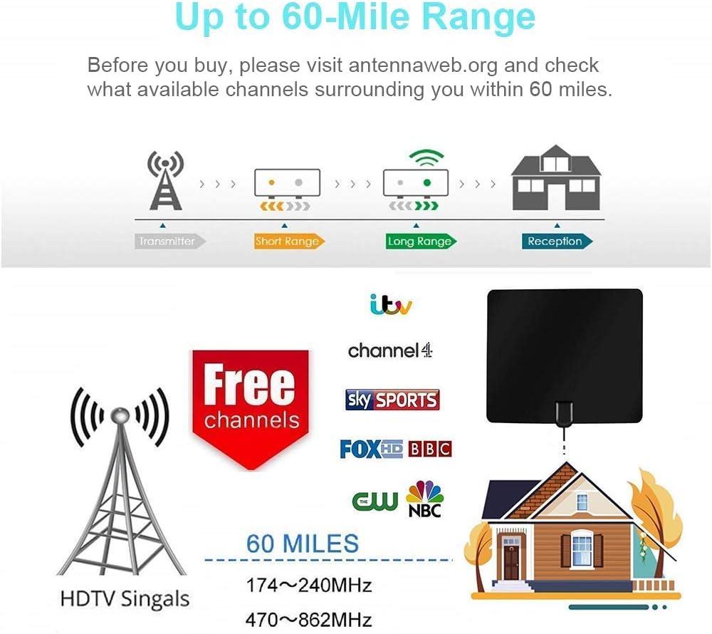 Ponangaga TV Antena Interior 60 + Miglia, 2018 Digital TV Antena HDTV para DTT DVB-T/DVB-T2, con Amplificador de señal Que y Cable Coaxial DE 13.1 FT Soporte 4 K 1080p VHF/UHF/FM (Negro):