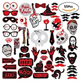 55Pcs Scary Halloween Photo Booth Props Party Favors Supplies Halloween Photography Props Kit