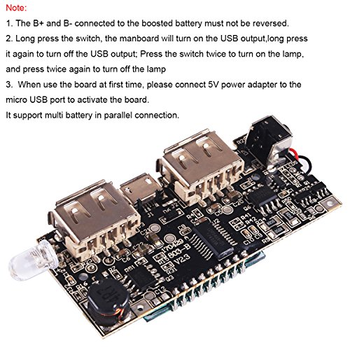 4pcs Dual USB 5V 1A 2.1A Mobile Power Bank 18650 Battery Charger PCB Module Board with Protection DIY USB Power Bank Board by MakerFocus (Image #3)'