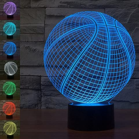 Basketball 3D Illusion Lamp Gawell Visual Effect Night Light 7 Colors Glows With Smart Touch Switch USB Cable Creative Gift Toys (Meditation Claw Bell)