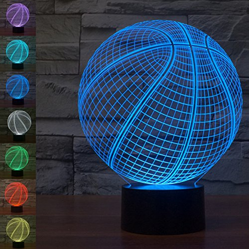 Basketball 3D Illusion Lamp Night Light, Gawell 7 Color Changing Touch Switch Table Desk Decoration Lamps Christmas Gift with Acrylic Flat & ABS Base & USB Cable Toy for Basketball Fans Lover