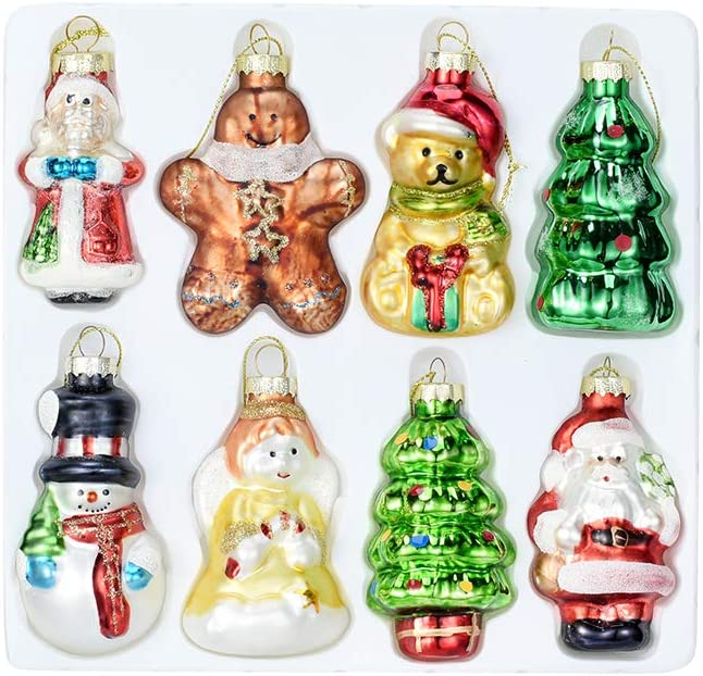 Painted Glass Christmas Ornaments. Set of 8 Hanging Christmas Decorations for your tree