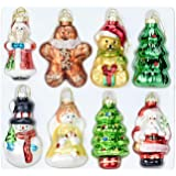 Painted Glass Christmas Ornament Set of 8 Hanging Christmas Decorations Glass Figurines Santa Claus, Snowman, Angel, Bear and Tree Use for Decorative Your Christmas Tree, Unique Christmas Gifts