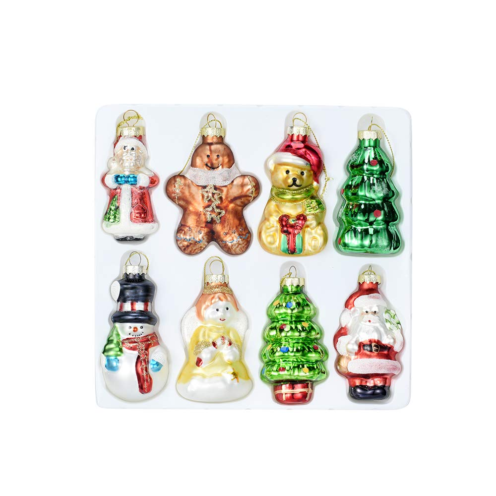 Angel Snowman Painted Glass Christmas Ornament Set of 8 Hanging Christmas Decorations Glass Figurines Santa Claus Unique Christmas Gifts Bear and Tree Use for Decorative Your Christmas Tree