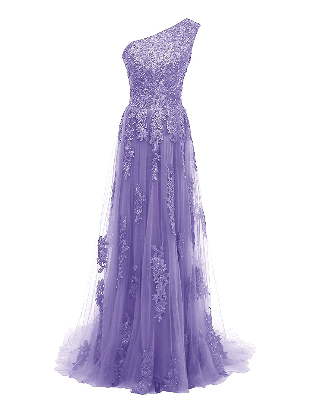 Lavender Uther One Shoulder Evening Party Gowns Lace Appliques Women's Formal Long Prom Dresses
