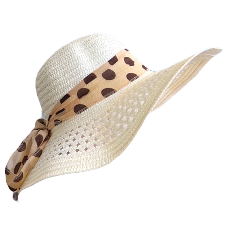 3598d78b2bcdd LADIES WIDE BRIMMED FLOPPY STRAW HAT (CREAM)  Amazon.co.uk  Clothing