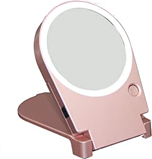 Floxite 10X Lighted Travel & Home Mirror, Rose Gold