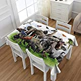 Africa Washable Tablecloth Digital Collage of Wild Animals with African Safari Animals Zoo Theme Print Artwork Waterproof Tablecloths Multicolor 52''x70''