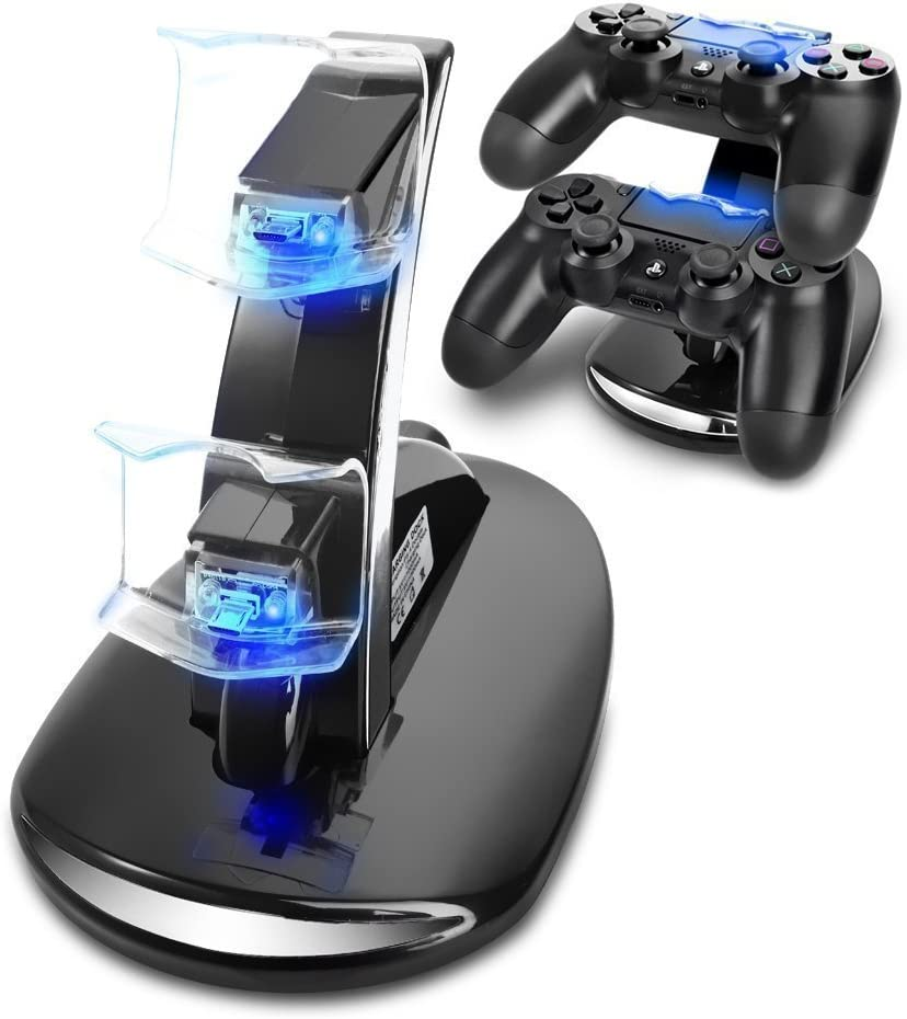 PS4 Controller Charger, Megadream Playstation 4 Charging Station for Sony PS4 / PS4 Pro / PS4 Slim DualShock 4 Controller, Dual USB Fast Charging Station Stand & LED Indicator Light