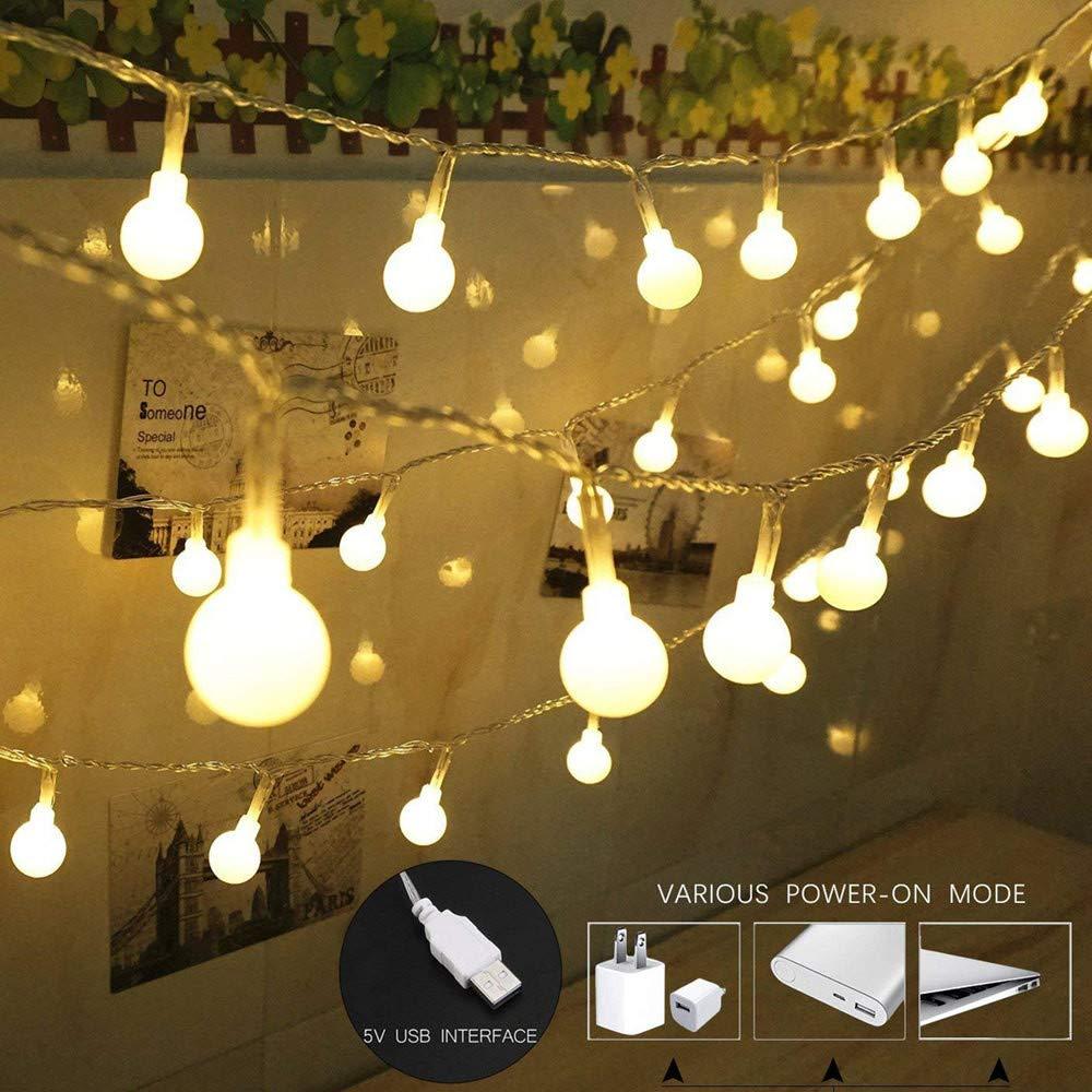 DDLBiz 100 LED Globe String Lights, USB Powered Warm White Light for Patio Garden Party Xmas Tree Wedding Decoration