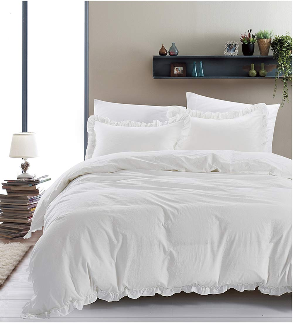 Duvet Cover King ,Vintage Washed, Premium Cotton Chambray Ruffles Duvet Cover Set ,Relaxing Soft Breathable Kids Boys Girls Bedding Covers Set With Buttons Closure White