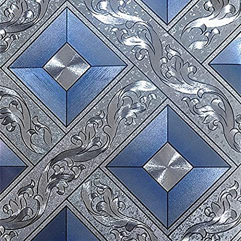 QIHANG Luxury Silver Foil Mosaic Square Lattice Background Flicker Wallpaper Gold Leaf Wallpaper Modern Roll/hotel Ceiling/decorative Wallpaper Roll Silver&Blue Color 1.73' W x 32.8' L=57 (Wallpaper Luxury)