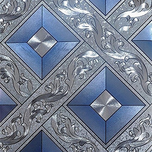 (QIHANG Luxury Silver Foil Mosaic Square Lattice Background Flicker Wallpaper Gold Leaf Wallpaper Modern Roll/hotel Ceiling/decorative Wallpaper Roll Silver&Blue Color 1.73' W x 32.8' L=57 sq.ft)