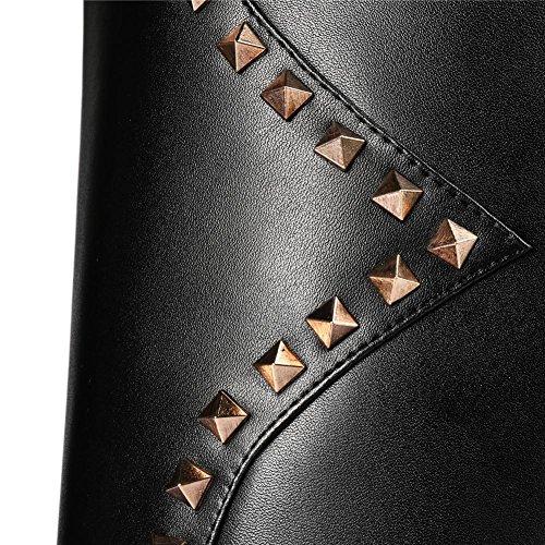 Tête EUR37UK455 la Véritable Automne Mode Botte de Femmes Nouvelle Noir Cuisse NVXIE Chaussures Chevalier sur de Cuir Dames Hiver la Bottes Ronde x6nwA