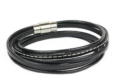 3e85d0280b5c SIMARU Lederarmband Wickelarmband schwarz mit Magnetverschluss aus  Edelstahl, Armband aus Echtleder für Herren   Damen, in verschiedenen  Größen (L ...