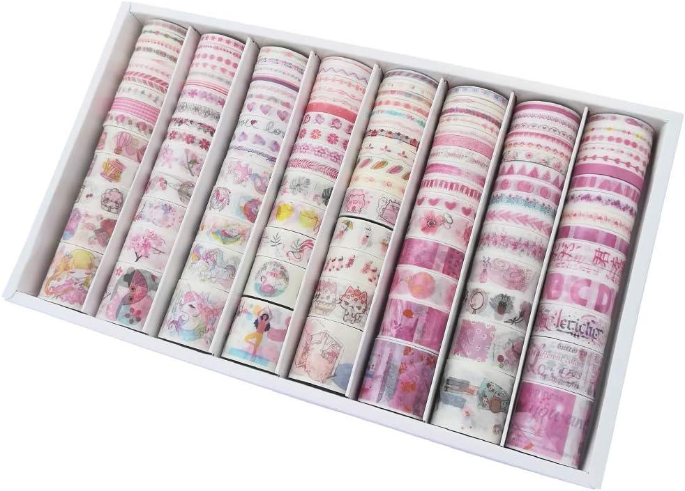 120 Rolls Kawaii Washi Paper Masking Tape Set Cartoon Girl Animal Cat Piglet Floral Fruit Food Heart Flower Adhesive Label Sticker for Scrapbooking Planner Art Craft Diary Planner DIY Gift Decor