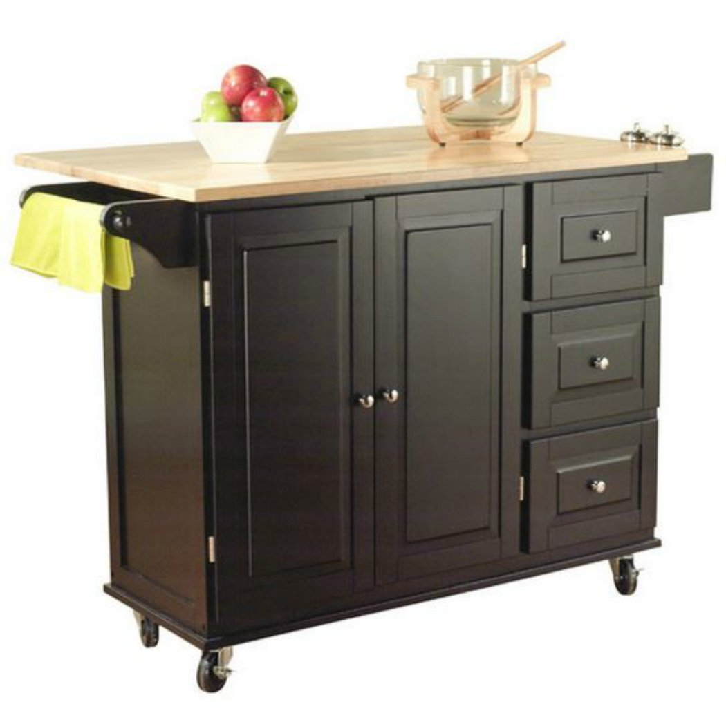 Amazon.com   TMS Kitchen Cart And Island   This Portable Small Island Table  With Wheels Has A Solid Wood Counter Top   3 Drawers And 3 Cabinets For ...