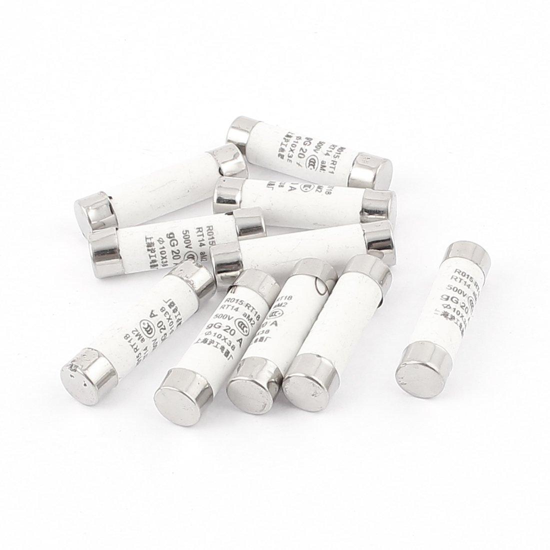 sourcingmap/® Multim/ètre 10 x 38 mm Cylindre fusible c/éramique fusion rapide AC 500V 20A 10pcs