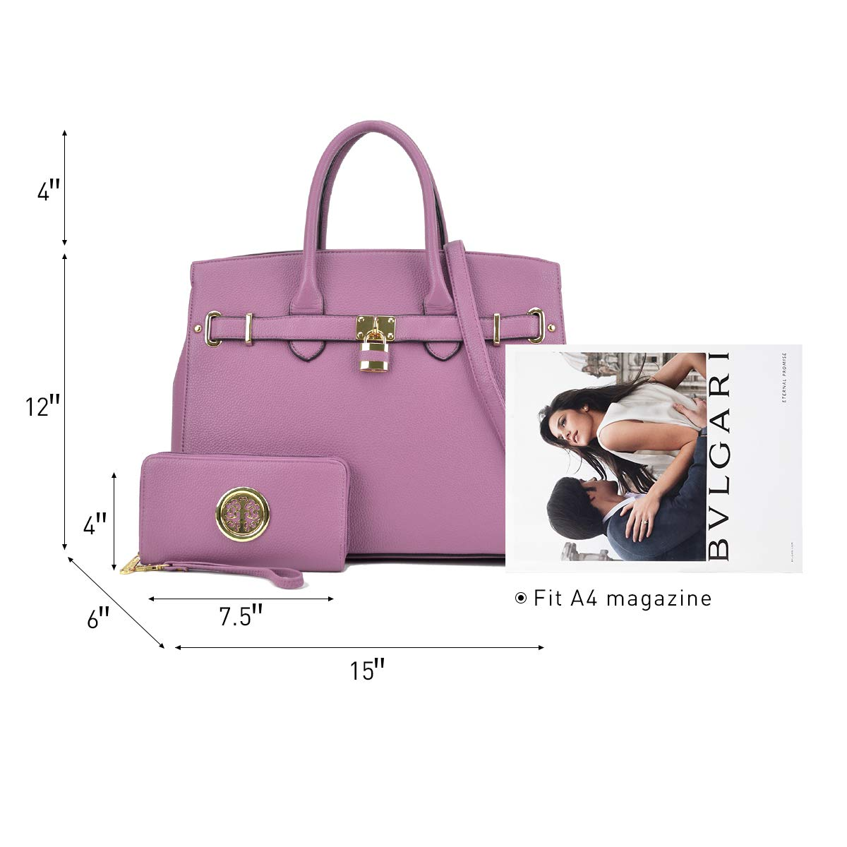 DASEIN Women's Purses and Handbags Shoulder Bags Ladies Tote Bags Padlock Satchels with Wallet by Dasein (Image #3)