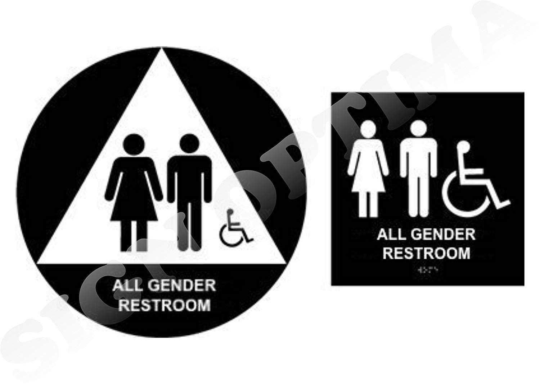 All Gender Restroom Sign Set, ADA Compliant,Acrylic Signs, Grade II Braille (Black)