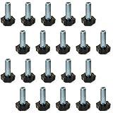Emuca 2020605 verstellbarer Fuss für Möbel, Gewinde M8x30mm, Set aus 20 Stück
