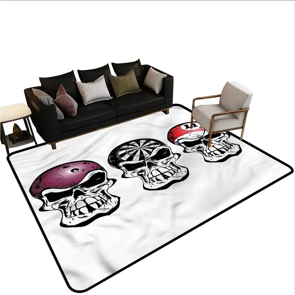 "B07SHD76CX Manly,Large Floor Mats for Living Room 60""x 72"" Bowling Darts Skulls Sketch Camping Rugs for Outside 61RYY6l07jL._SL1000_"