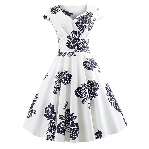 283da32ece98d Clearance Women's Vintage 1950s Retro Rockabilly Prom Tea Swing Dress  Sleeveless (S, Black_A)