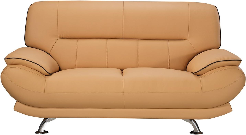 "American Eagle Furniture Arcadia Mid Century Modern Leather Living Room Loveseat, 68"", Yellow"