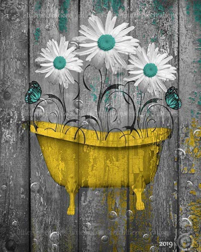 Littlepiecreations Teal Yellow Gray Rustic Bathroom Wall Art, Daisy Flowers, Butterflies Bubbles, USA Handmade Original Photo Artwork, 8x10 Print with 11x14 White Mat, (Fits 11