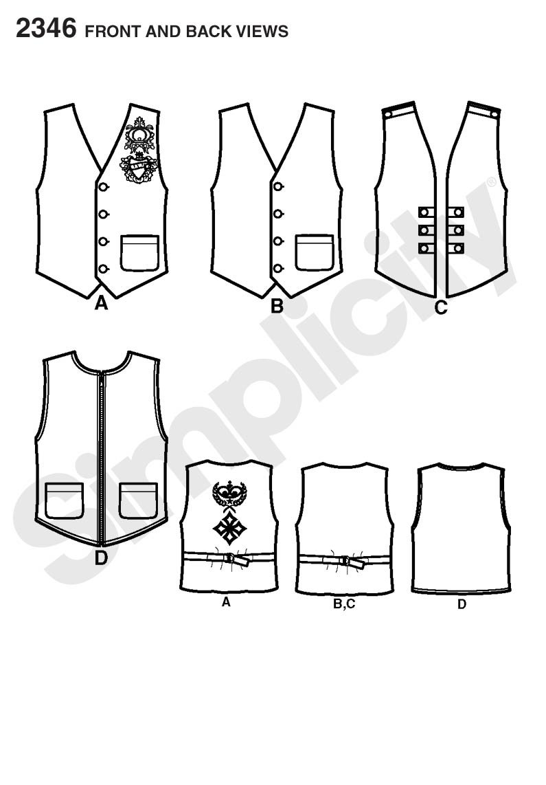 44-46-48-50-52 BB Simplicity Sewing Pattern 2346 Mens Vests