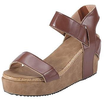 Logobeing Sandalias Mujer Verano Plataforma, Mujeres Punta Abierta Sandalias de Playa Transpirable Banda Elástica de Roma Cuñas Casuales Zapatos (Marrón ...