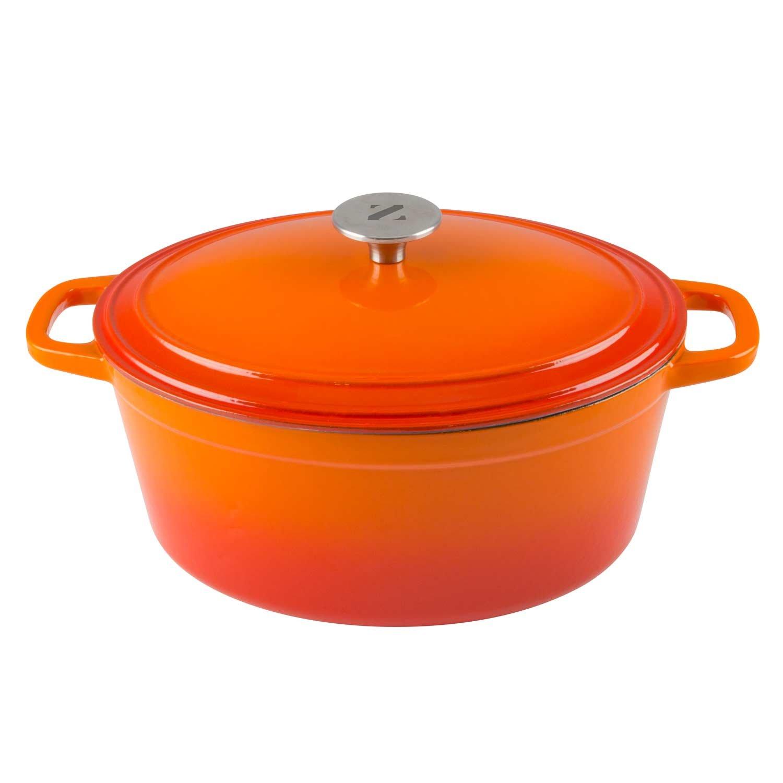 Zelancio 6 Quart Cast Iron Enamel Covered Oval Dutch Oven Cooking Dish with Skillet Lid (Tangerine Orange)
