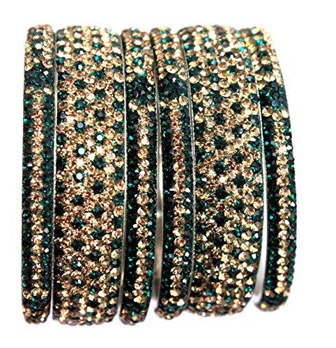 Hyderabad Jewelry 6PCS8ss2Tone Emerald Green + Gold Handmade Metal Bangles Bling Rhinestone Bracelets 3 & 7 Rows Sparkly Rhinestones Crystals ()